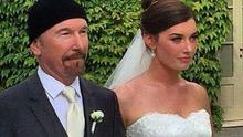 The Edge walks daughter Hollie up the aisle. Picture: Instagram