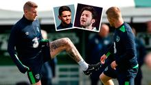 James McClean training with Daryl Horgan and (inset) Robbie Brady and Harry Arter who are both missing for Welsh match