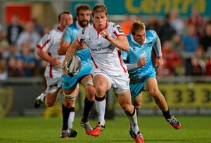 Andrew Trimble, Ulster, makes a break for the try line. Oliver McVeigh / SPORTSFILE