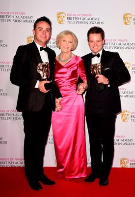 Anthony McPartlin (left) and Declan Donnelly with the Best Entertainment Performance Award alongside Mary Berry at the House of Fraser British Academy of Television Awards at the Theatre Royal, Drury Lane in London. PRESS ASSOCIATION Photo. Picture date: Sunday May 10, 2015. See PA story SHOWBIZ Bafta. Photo credit should read: Ian West/PA Wire