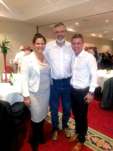 BEFORE THE FALL: Mary Lou McDonald, Gerry Adams                   and Jonathan Dowdall