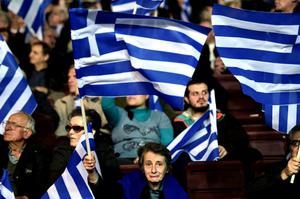 Supporters of the conservative New Democracy party attend a speech of Greek Prime Minister and leader of the party Antonis Samaras. Greeks will go to polls for general elections today (Getty Images)