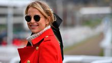 Vogue Williams pictured near the statue of Gold Cup Winning horse Best Mate, as she supports Women in Racing at the Cheltenham Festival