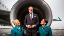 Christoph Mueller Aer Lingus CEO (centre) with Aer Lingus cabin crew Lesley Murphy and Grainne Frawley launching flights from Shannon to Boston Aer Lingus.