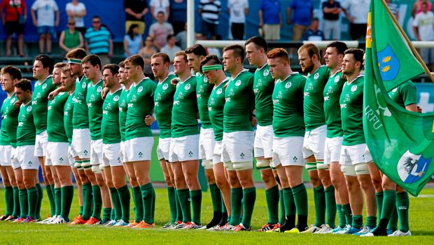 6 June 2015; The Ireland team stand for the anthems. World Rugby U20 Championship Pool C, Ireland v Scotland. Calvisano, Italy. Picture credit: Roberto Bregani / SPORTSFILE