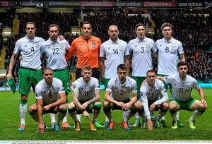 The Republic of Ireland team, back row,from  left to right, John O'Shea, Richard Keogh, David Forde, Darron Gibson, Stephen Ward and Jeff Hendrick. Front row, from left to right, Jonathan Walters, James McClean, Seamus Coleman, Aidan McGeady and Shane Long.