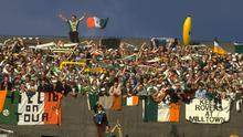 Banners and bananas: 'Keep Rovers at Milltown' reads one banner among Ireland supporters during an Italia 90 qualifier. Photo: Simon Bruty/Allsport