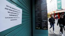 Pub doors are locked in the Temple Bar area, as bars across Ireland close voluntarily to curb the spread of coronavirus, in Dublin. Photo: REUTERS/Lorraine O'Sullivan