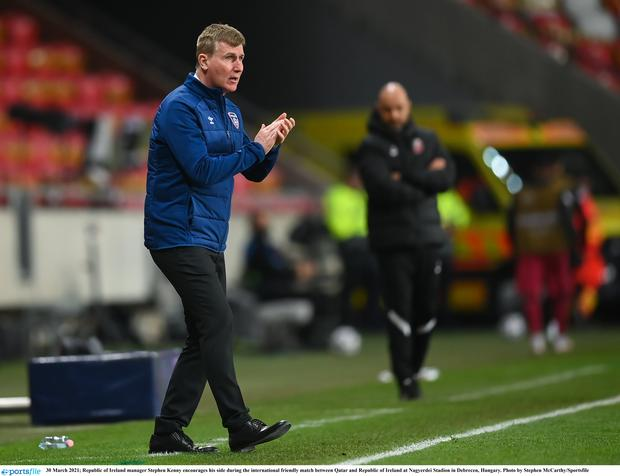Republic of Ireland manager Stephen Kenny encourages his side during the international friendly match against Qatar. Photo by Stephen McCarthy/Sportsfile