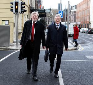 Gerry O'Regan,former Editor of the Irish Independent (left) and Michael Doorly,former Financial Director and  now Company Secretary at Independent News & Media two of the witnesses  arriving at the Oireachtas Banking Inquiry at Leinster House Pic Tom Burke 26/3/2015