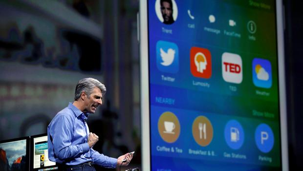 Apple senior vice president for software engineering Craig Federighi speaks at the Worldwide Developers Conference in San Francisco