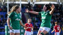 Beibhinn Parsons scored a sensational try for Ireland in their 31-12 win over Wales. Photo by Ramsey Cardy/Sportsfile