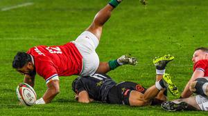 The Lions beat the Sharks 54-7 after a tumultuous day in South Africa. Photo by Sydney Seshibedi/Sportsfile
