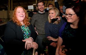 Alliance candidate Naomi Long shares a joke with the media as counting in the general election gets underway at the kings Hall in Belfast. PRESS ASSOCIATION Photo. Picture date: Thursday May 7, 2015. See PA story ELECTION Main. Photo credit should read: Niall Carson/PA Wire
