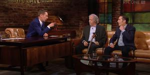 Ryan Tubridy with Finbar Furey and Christy Dignam on The Late Late Show