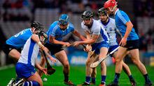 Noel Connors, left, Conor Gleeson and Jamie Barron of Waterford compete for possession with Dublin players, from left, Donal Burke, Rian McBride and Niall McMorrow