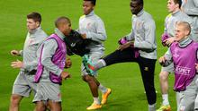Liverpool's players go through their paces ahead of their Champions League clash with Real Madrid. Photo: AP