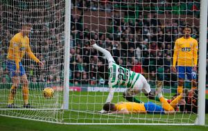 Odsonne Edouard scores Celtic's second goal. Photo: Andrew Milligan/PA Wire
