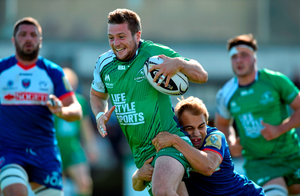 Jack Carthy, Connacht, is tackled by James Hart, Grenoble