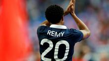 France's Loic Remy reacts after scoring against Spain during their international friendly soccer match at the Stade de France
