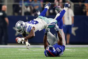 Dallas Cowboys wide receiver Dez Bryant (88) catches the ball as he is tackled by New York Giants cornerback Prince Amukamara. The Cowboys won 27-26 at the weekend with a last-gasp touchdown (Credit: Tim Heitman-USA Today)