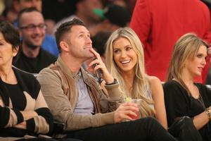 Robbie Keane and Claudine Palmer out at the Lakers game.  Photo: Splash