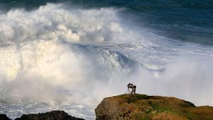 Huge waves hit the Co Antrim coast at Ballintoy yesterday. Photo: Margaret McLaughlin