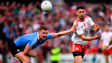 21 July 2018; Mattie Donnelly of Tyrone in action against Ciarán Kilkenny of Dublin during the GAA Football All-Ireland Senior Championship Quarter-Final Group 2 Phase 2 match between Tyrone and Dublin at Healy Park in Omagh, Tyrone. Photo by Stephen McCarthy/Sportsfile