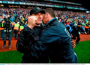 20 September 2015; Dublin manager Jim Gavin is congratulated by Seamus McCormack after the final whistle. GAA Football All-Ireland Senior Championship Final, Dublin v Kerry, Croke Park, Dublin. Picture credit: Stephen McCarthy / SPORTSFILE