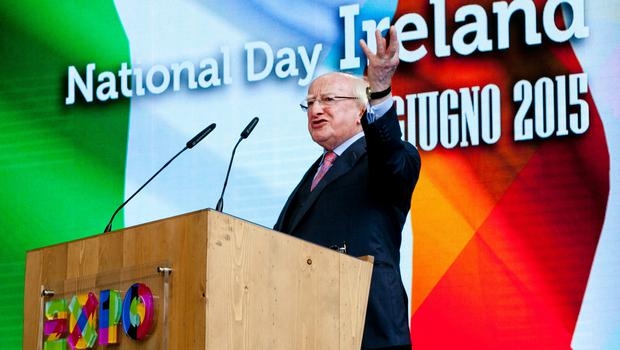 President Michael D Higgins speaking at the 'National Day of Ireland' at the Expo Milano 2015 during his three-day visit to Italy. Photo: Chris Bellew