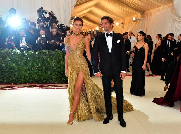 Irina Shayk and Bradley Cooper arrive for the 2018 Met Gala on May 7, 2018, at the Metropolitan Museum of Art in New York