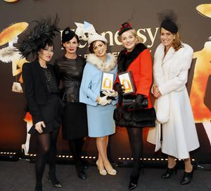 Shoe designer Lucy Choi, Caroline Sleiman Market Development manager with Moet Hennessy, Marie Orborne from Kildare winner of the Hennessy Best Accessory and Louise Allen from Meath winner of the Hennessy best dressed lady 2014