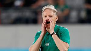 Rugby Union - Rugby Union - Rugby World Cup 2019 - Quarter Final - New Zealand v Ireland - Tokyo Stadium, Tokyo, Japan - October 19, 2019 Ireland head coach Joe Schmidt during the warm up before the match REUTERS/Issei Kato