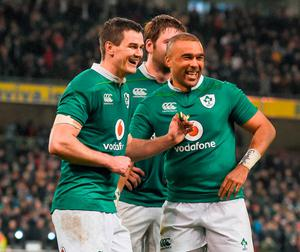 Jonathan Sexton, left, and Simon Zebo celebrate after the match. Photo: Brendan Moran/Sportsfile