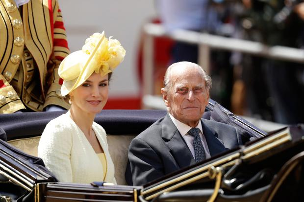 Queen Letizia of Spain and Prince Philip, Duke of Edinburgh ride in a carriage to Buckingham Palace after a Ceremonial Welcome on Horse Guards Parade on July 12, 2017 in London, England