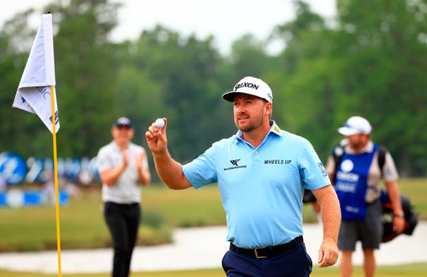 Graeme McDowell reacts to his hole in one on the 17th green during the second round of the Zurich Classic of New Orleans at TPC Louisiana in New Orleans, Louisiana. Photo: Mike Ehrmann/Getty Images