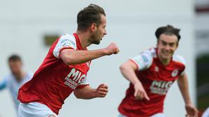 Billy King of St Patrick's Athletic celebrates after scoring his side's winning goal in the SSE Airtricity League Premier Division clash with Drogheda United at Richmond Park, Inchicore. Photo: Matt Browne/Sportsfile