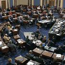 Senators vote on approving the rules for the impeachment trial against President Donald Trump (Senate Television via AP)