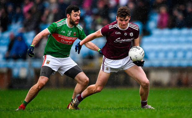John Daly of Galway in action against Kevin McLoughlin of Mayo during the FBD League Semi-Final match between Mayo and Galway at Elverys MacHale Park in Castlebar, Mayo. Photo by Piaras Ó Mídheach/Sportsfile