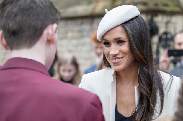 LONDON, UNITED KINGDOM - MARCH 12: Meghan Markle and Prince Harry (not pictured) meet school children in the Dean's yard before attending a Reception after attending the Commonwealth Service at Westminster Abbey on March 12, 2018 in London, England. Organised by The Royal Commonwealth Society, the Commonwealth Service is the largest annual inter-faith gathering in the United Kingdom. (Photo by Jack Hill - Pool/Getty Images)