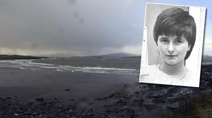 'Baby John' was just five days old when his body was found with multiple stab wounds on White Strand in Caherciveen on April 14, 1984. Gardaí have apologised to Joanne Hayes (inset) for the stress the investigation caused