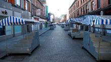 The Moore street market empty, as the spread of the coronavirus disease (COVID-19) continues in Dublin. Photo: REUTERS/Jason Cairnduff