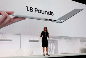 Alanna Cotton, vice president of Samsung Electronics America, introduces the Samsung Notebook 9 during a Samsung Electronics news conference at the 2017 CES in Las Vegas, Nevada January 4, 2017. REUTERS/Steve Marcus