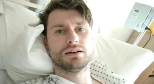 Suffering: Patient Micheal Prendergast in a still from the video he shared online from hospital