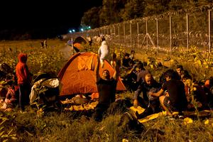 A migrant plays with his child in front of a barrier at the border with Hungary near the village of Horgos, Serbia