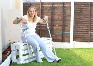 On the mend: Beverly Maloney, from Edenderry, Co Offaly, who had knee surgery last month. Photo: Kevin McNulty