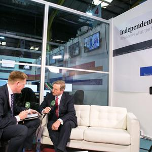 Taoiseach Enda Kenny is interviewed by group political editor Fionnan Sheahan at the Independent.ie studio at Web Summit. Photo: Kyran O'Brien