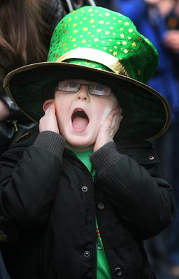 1/3/2015 St Patrick's Day Parade, Boyle, Co. Roscommon Enjoying the noise in Boyle Owen Lavin from Geevagh Co. Sligo covers his ears. Photo Brian Farrell