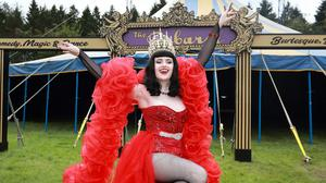 Scarlet woman: Burlesque dancer Bella Curve (Catherine Dooly) at the Electric Picnic preview in Stradbally, Co Laois. Photo: Frank McGrath