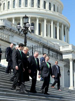 Speakers Lunch Capitol Hill Washington. Speaker Paul Ryan, US president Donal Trump, Congressman Peter King and Taoiseach Enda Kenny. Picture; Gerry Mooney